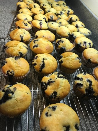 New Hope's 1870 Wedgwood Bed and Breakfast Inn: Made-from-scratch Blue Ribbon Blueberry Muffins at Wedgwood Inn, New Hope, Bucks County, Pa, USA