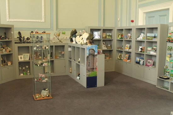 Armagh Visitor Information Centre: Awful grey shelves.