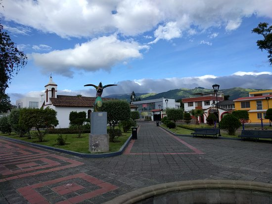 View of the central plaza in Tababela, just a short walk from the Quito Airport Suites