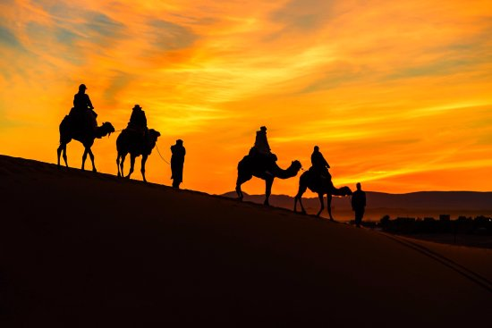 Morocco Excursions: Sunset in dunes, Merouga