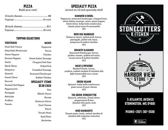 Stonington, Maine: 2017 Menu Page 1