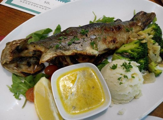 Uncle Albert's Traditional English Fish and Chips: Grilled trout