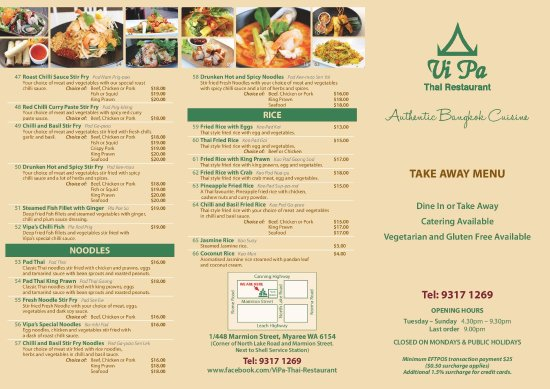 Myaree, Australia: ViPa's Current  Take away Menu.Page1