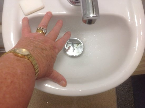 Upton St Leonards, UK: Minute basin in 225 with enormous tap so could not wash face without flooding floor.