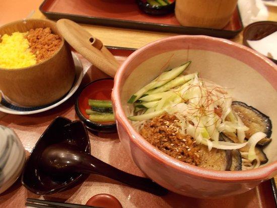 Takarazuka, Japan: そば野の茄子と鶏そぼろのそばセット