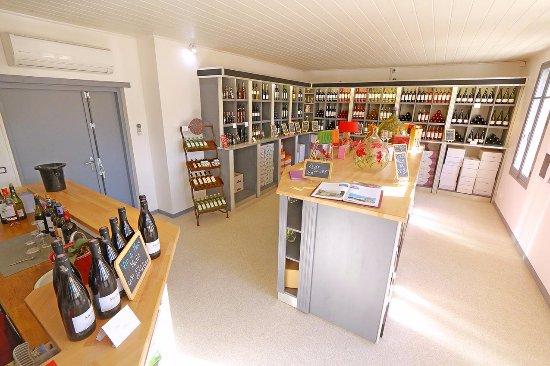 Saint-Laurent-de-la-Cabrerisse, France: Notre Caveau rempli de vin et de produit régional