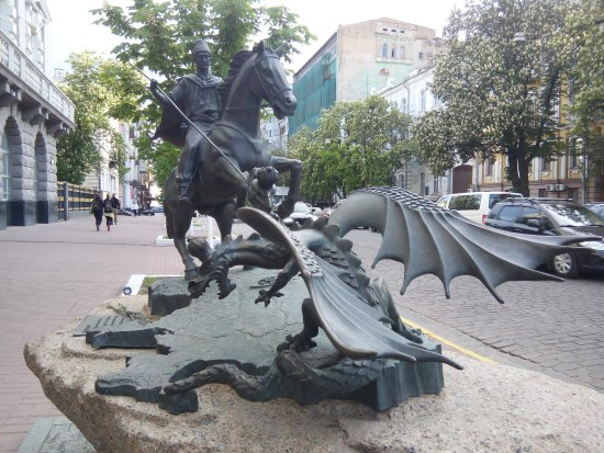 Ukrainian Kozak spears a two-headed dragon