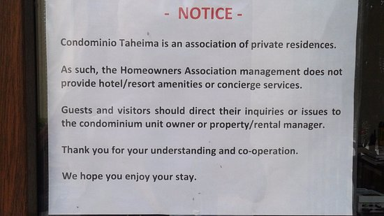 Taheima Wellness Resort & Spa: The front office is for owners.. Make sure you have easy access to your owner or agent.