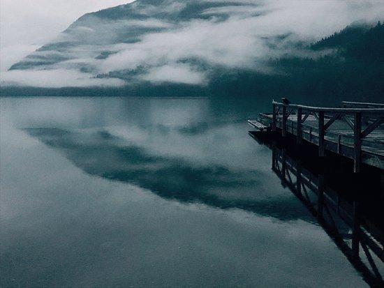 Lake Crescent Lodge: 霧のかかった湖は本当にきれいです。