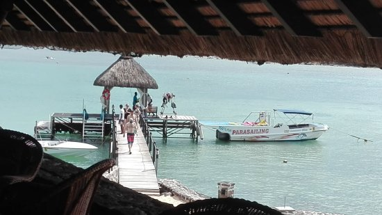 Maritim Resort & Spa Mauritius: View from Quarterdeck - at the Pier you can try water skiing, go snorkelling etc for free