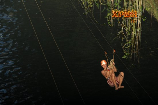 Xplor Park: zip line into the water fall