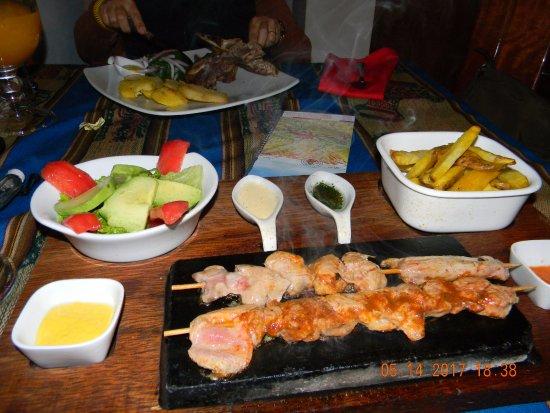 apu veronica restaurant alpaca skewers very nice presentation
