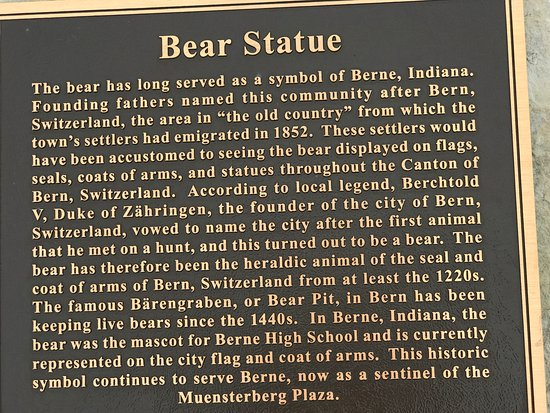 Berne, IN: The Bear Statue at the Clock Tower