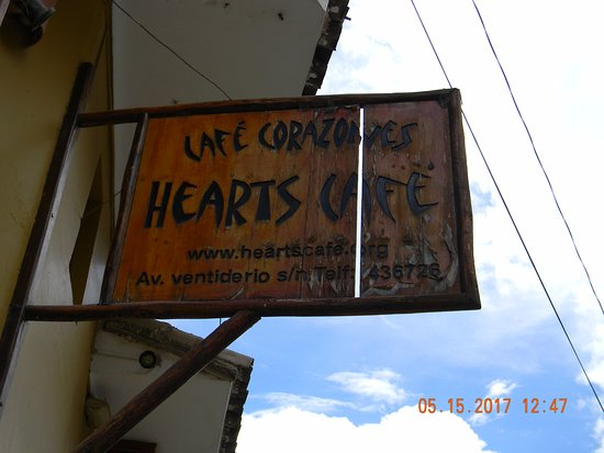 Hearts Cafe: sign outside Hearts