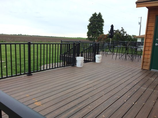 Rosemount, MN: Outdoor patio with a view of the neighbors farmstead.