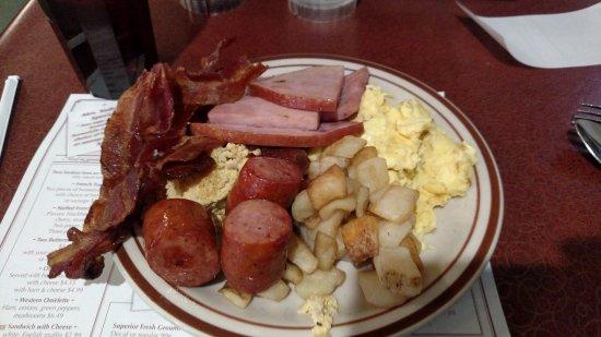 Mount Hope, OH: Breakfast Buffet: Ham, Bacon, Sausage, Fried Mush, Breakfast Potatoes, and Scrambled Egg cassero