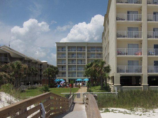 Hilton Garden Inn Orange Beach: View of the HGI Orange Beach AL from the boardwalk to the beach.