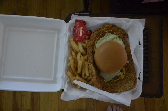 Winterset, IA: Aerial view of the gynormous Tenderloin made at Frostee's!