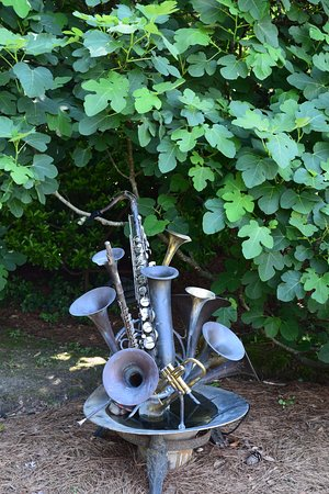 Bishopville, SC: Musical instruments under the fig tree
