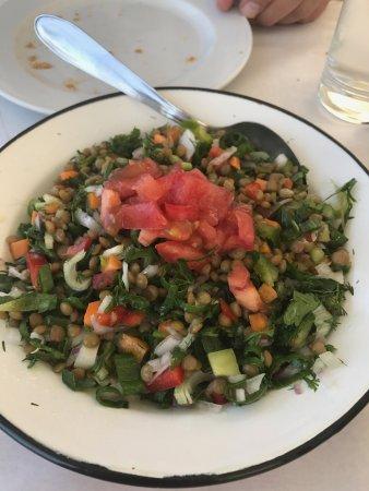 Piso Livadi, Grækenland: Lentil salad