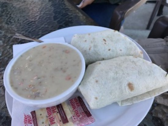 Chowder and wrap of the day, Gus's Pub 1573 Beach Dr, Port McNeill, British Columbia