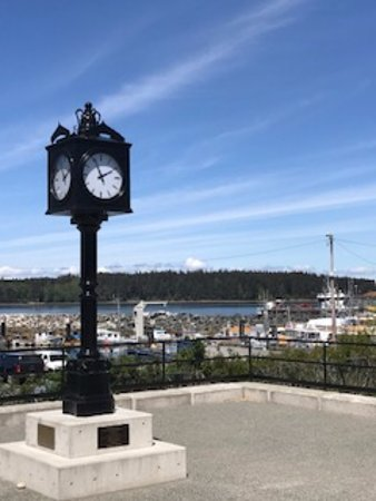 Port McNeil town clock down the road from Gus's Pub 1573 Beach Dr, Port McNeill, British Columbi