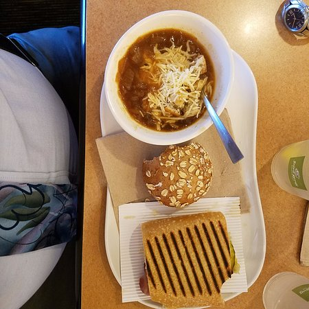Saint Charles, MO: French onion soup, cuban panini