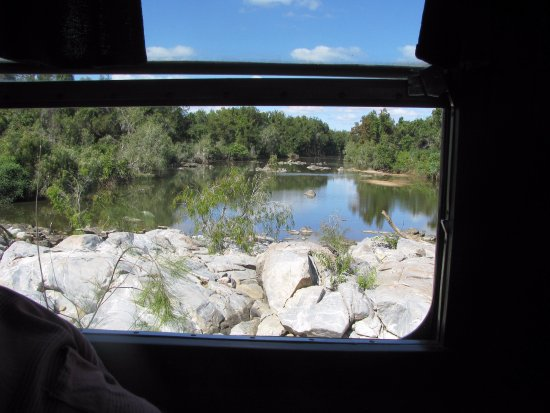 Bedrock Village Caravan Park: View from Railmotor window