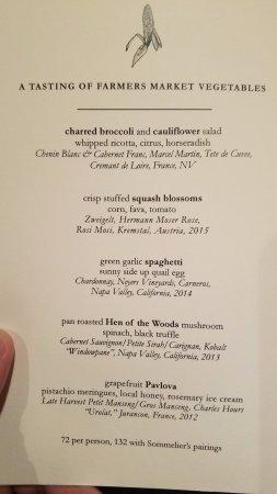 Restaurant August: vegetarian tasting menu