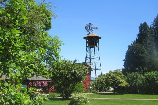 Wind Mill and Water Tower, Hulda Klager Lilac Gardens, Woodland, WA