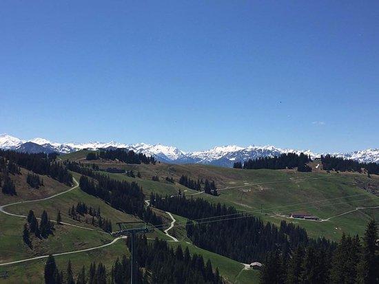 Scheffau am Wilden Kaiser, Austria: Blick von der Restaurant Terrasse auf die Bergwelt