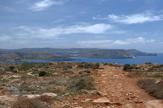 St. Paul's Bay, Malta: view from cliffs into the beach bay