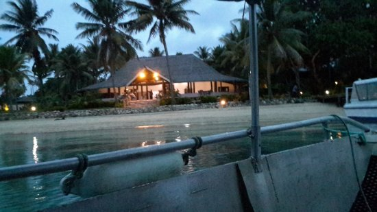Aore Island Resort: night view of resort from end of jetty.