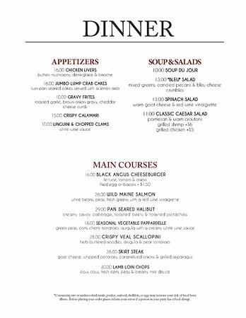 Dinner Menu (Changes Frequently) - Picture of Island Kitchen ...
