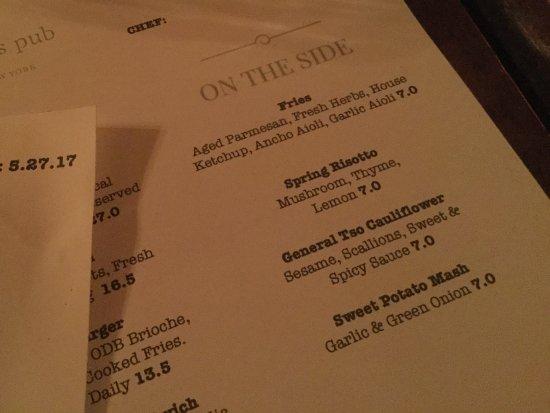Chatham, Estado de Nueva York: Appetizer menu