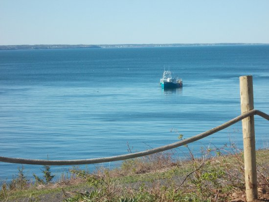 Digby, Canada: A lobster boat pulling traps.