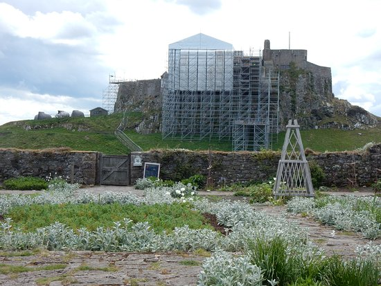 Holy Island, UK: Ancient castle and 21st century scaffolding