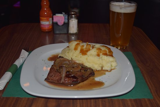 Coraopolis, PA: Flat Iron with mashed potatoes from our menu and covered  in our homemade Bourbon Sauce