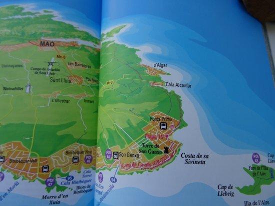 CALA RAFALETSALGAR MAP Picture of Cala Rafalet Menorca