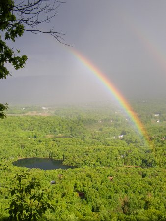 Mohonk Preserve : View of the valley from the top of the cliff after a rain shower.