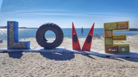 Cape Charles Beach: Artwork on beach
