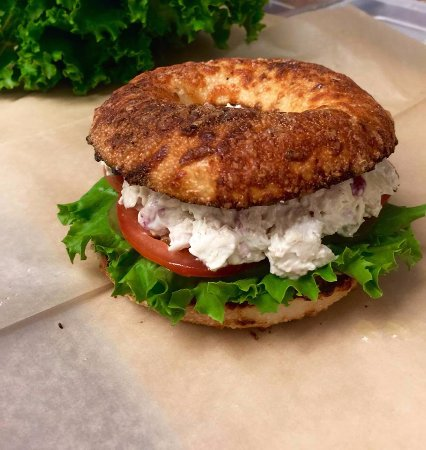 Empire Bagel Factory : chicken salad on Asiago