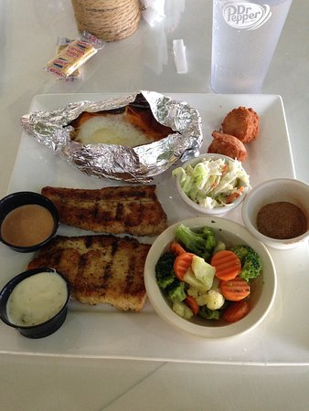 Jasper, AL: grilled mahimahi with baked sweet potato and steamed vegies