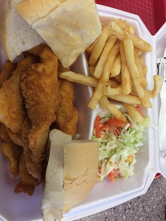 Houma, LA: Fried fish platter with fries and salad.