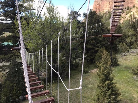 Gallatin Gateway, MT: Rope bridges on zip lining course