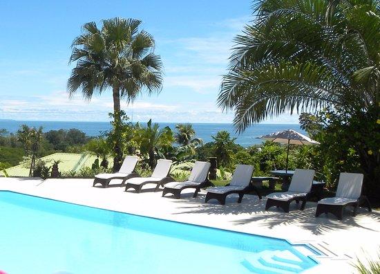 Ojochal, Kosta Rika: Sunny morning at pool. Mañana soleada en la piscina.