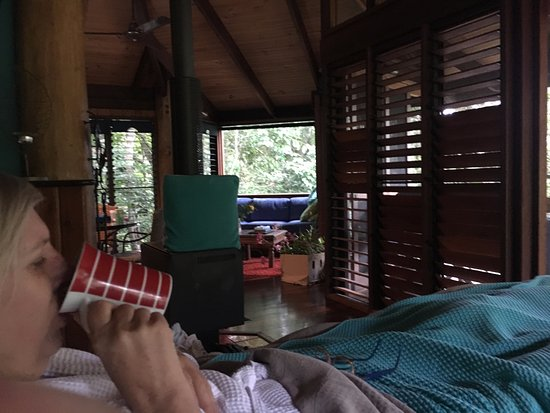 Yungaburra, Australien: in bed and looking out into rainforest