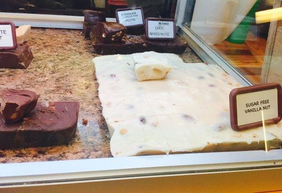 Robertsdale, AL: Sugar free chocolate nut and vanilla nut fudge.