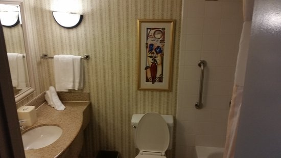 Hilton Garden Inn Charlotte Uptown: The bathroom was nice and clean, though a little tight.