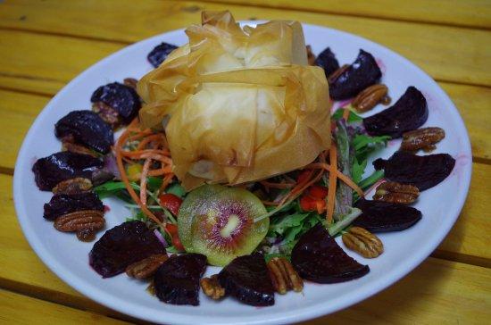 Waihi Beach, Nya Zeeland: Veggie Caramalised Red Onion & Goats Cheese Filo Salad